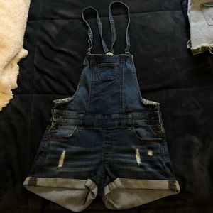 Dark wash Overall Jean Shorts